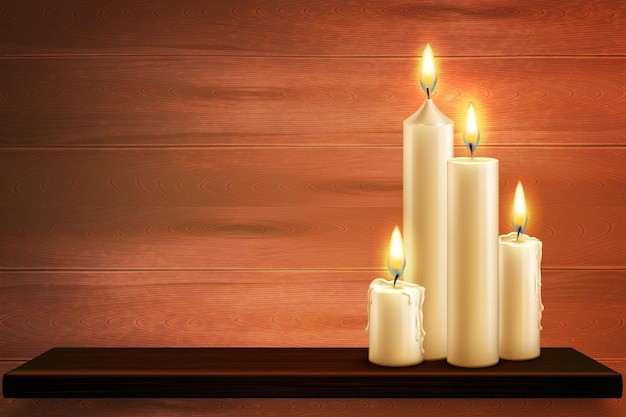 Realistic candles on a wooden shelf illustration
