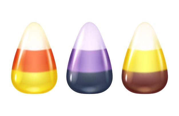 現実的なキャンディコーンは白の背景に設定します。