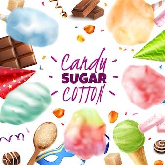 Реалистичные конфеты, сахар, хлопок, рамка с редактируемым текстом и круглой композицией различных кондитерских изделий, векторная иллюстрация