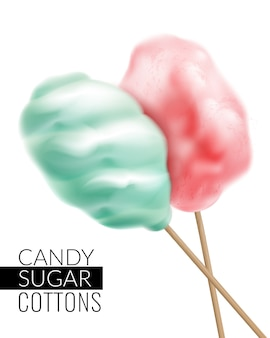 Realistic candy sugar cottons with text and images of colorful candy floss products