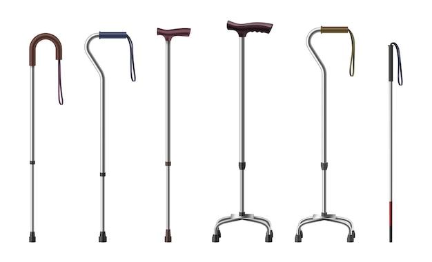 Реалистичные трости. 3d трости и костыли. медицинские принадлежности для престарелых или травмированных пациентов-инвалидов. оборудование для восстановления и реабилитации после аварии. векторная иллюстрация