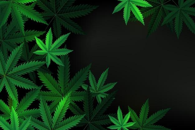 Реалистичные обои с листьями каннабиса