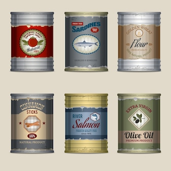 Realistic cans with labels