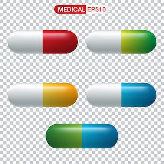 Realistic capsule or pill medicine