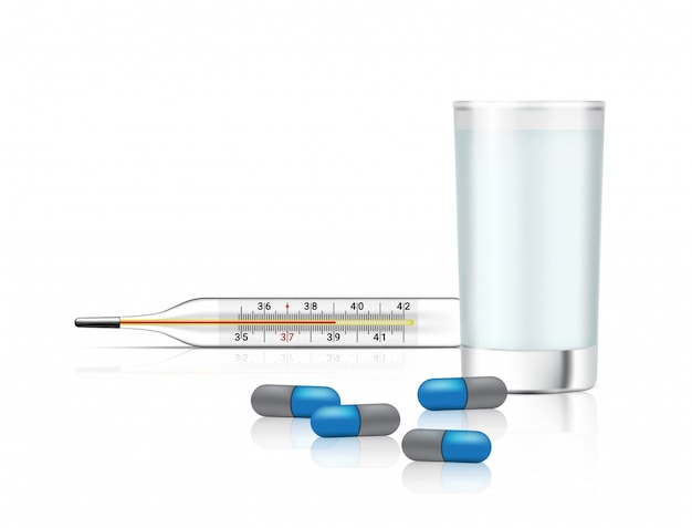 Realistic capsules pills medicine with water glass and thermometer