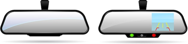 Realistic car automobile rear view mirror with built in monitor and parking helper lines eps