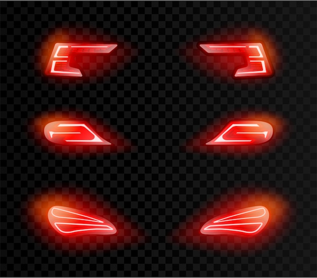 Realistic car back red lights in different shapes on transparent dark
