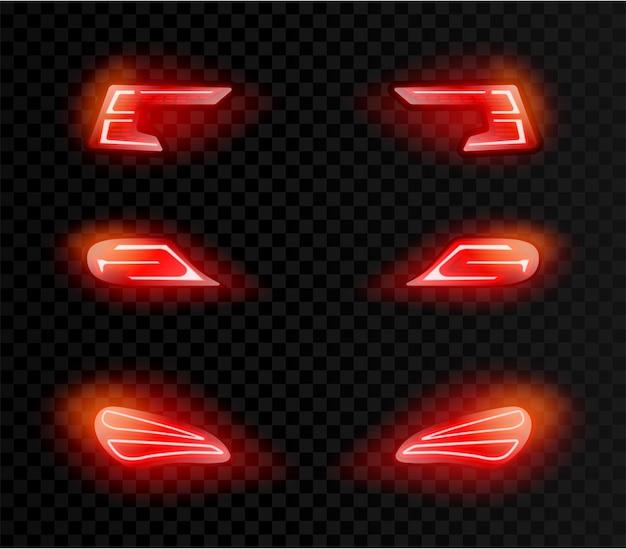 Luci rosse posteriori auto realistiche in forme diverse su oscurità trasparente