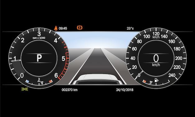 Realistic car dashboard.