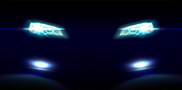 Realistic car front lights on black
