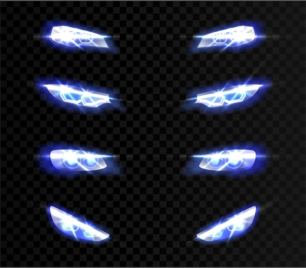 Realistic car front lights in different shapes on transparent