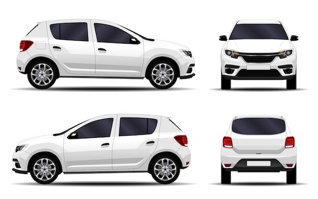 Realistic car. hatchback. front view, side view, back view.