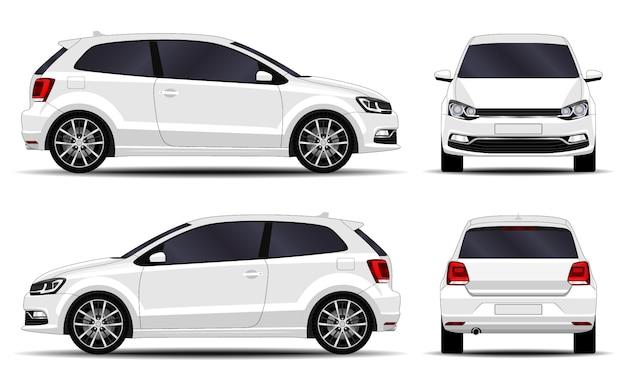 現実的な車。ハッチバック。正面図、側面図、背面図。