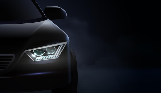 Realistic car headlights ad composition and headlights with green and purple illumination
