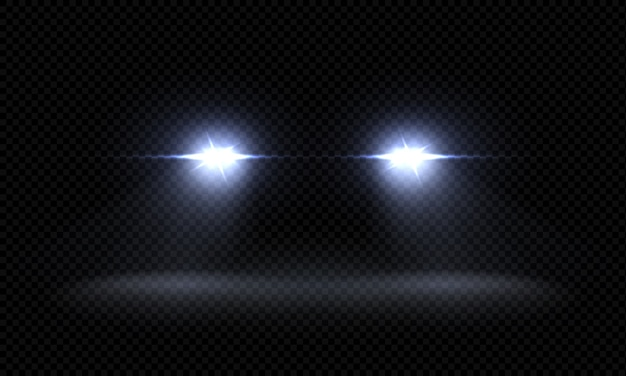 Realistic car headlights. train front light beams, transparent bright glowing light rays, night road light effects