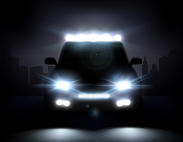 Realistic car lights illustration