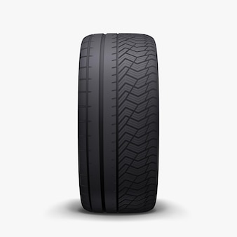 Realistic car merged winter and summer season tire with soft shadow