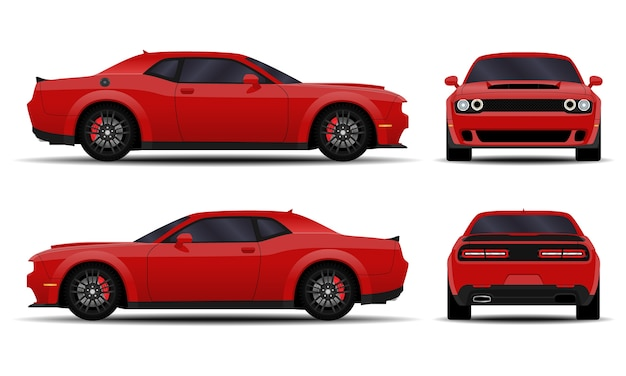 Realistic car. muscle car. side view, back view, front view.