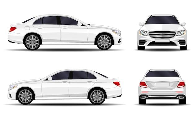 現実的な車。セダン。正面図;側面図;背面図。