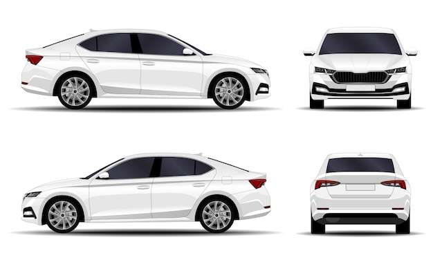 Realistic car. sedan. side view, front view, back view.