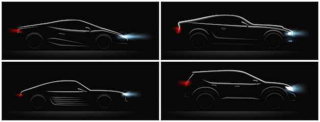 Realistic car silhouete dark set of four profiles with different car body and glowing running lights vector illustration
