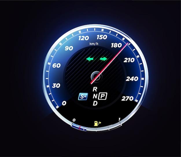 Реалистичный интерфейс автомобильного спидометра. панель приборов для авто.