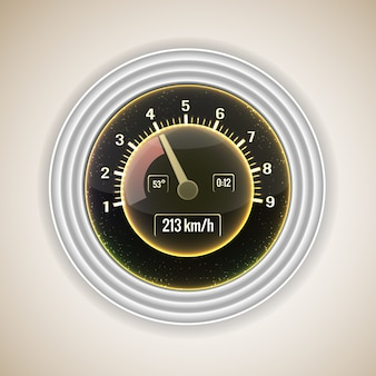 Realistic car speedometer interface with a transmission steps on gray gradient fond vector illustration