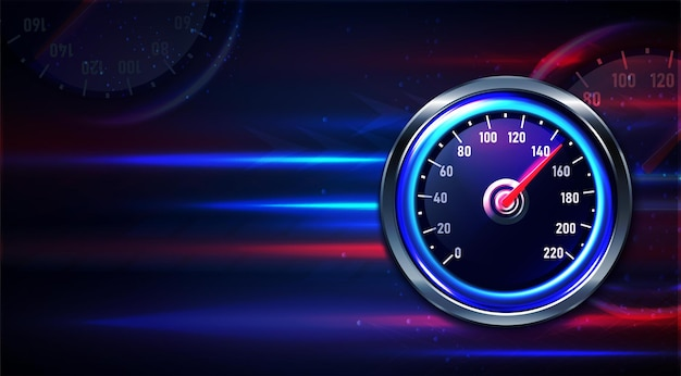 Realistic car speedometer with space for text