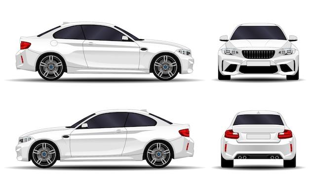 現実的な車。スポーツクーペ。正面図;側面図;背面図。