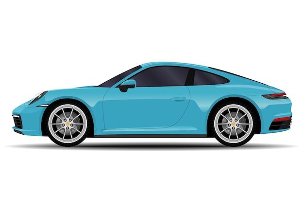 リアルな車。スポーツクーペ。側面図