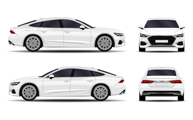 Realistic car. sport sedan. front view; side view; back view.