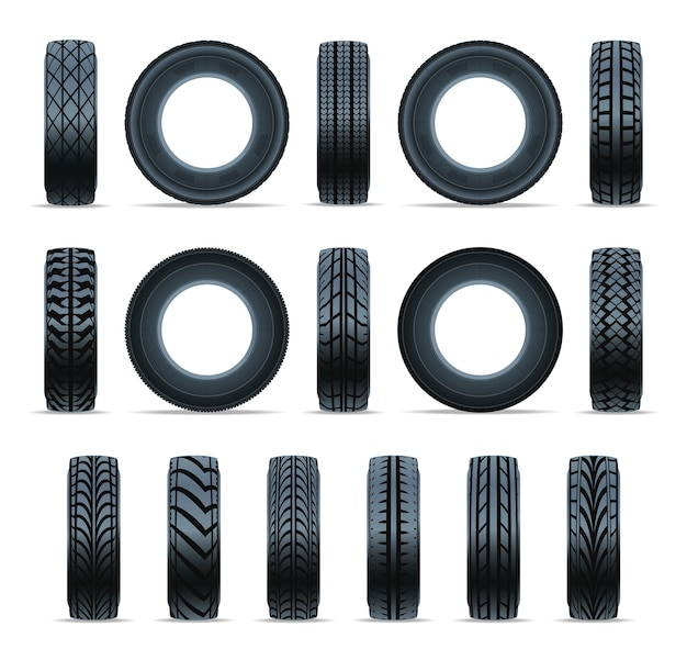 Realistic car tire icon collection