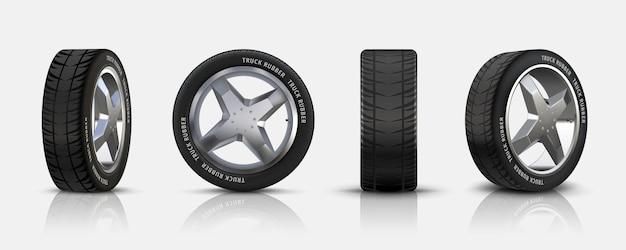 현실적인 자동차 타이어. 합금 림이 있는 3d 격리된 자동 타이어, 전단지, 브로셔 및 배너용 디스크와 고무가 있는 상세한 자동차 바퀴. 벡터는 감상과 함께 검은색 자동 타이어를 설정합니다.