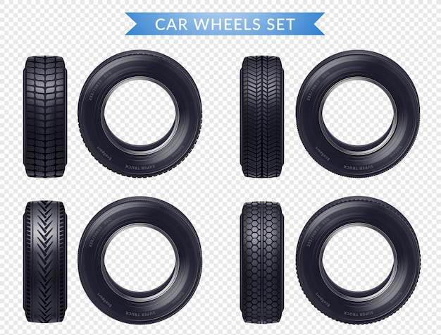 Realistic car tires transparent set