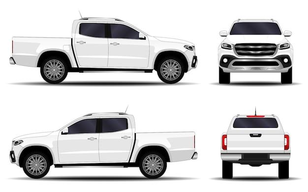 現実的な車。トラック、ピックアップ。正面図;側面図;背面図。