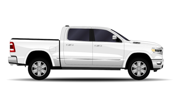 Realistic car. truck, pickup. side view