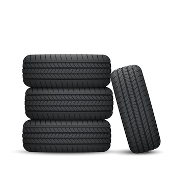 Realistic car wheel tyre