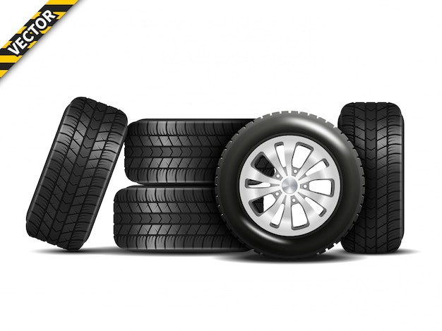 Realistic car wheels set with alloy rims