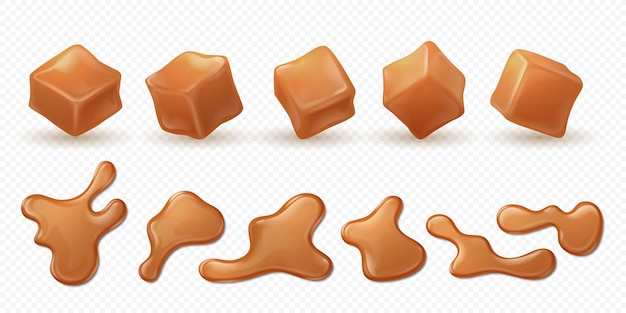 Realistic caramel. 3d toffee splash, drips and drops isolated confectionery.