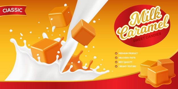 Realistic caramel poster composition with editable brand name and images of milk splashes and candy cubes