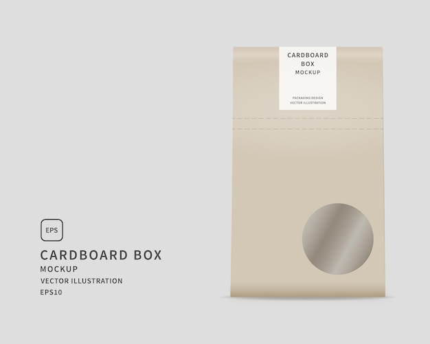 현실적인 골판지 상자. 종이 봉지. 식품 포장 디자인.