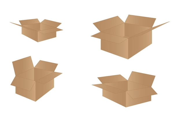 側面、正面、上面から見たリアルな段ボール箱が孤立して開いています。
