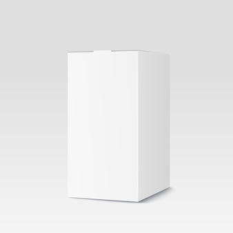 Realistic cardboard box on white