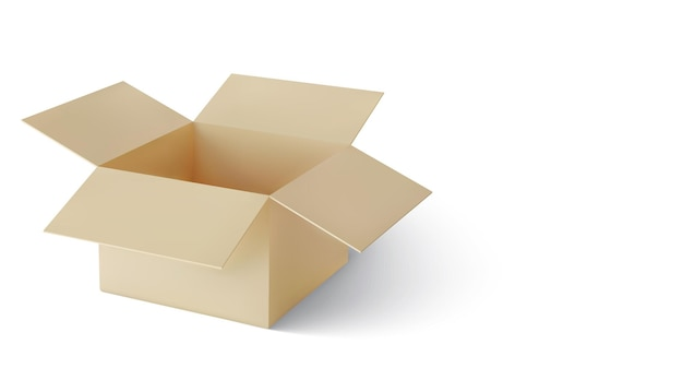 Реалистичная картонная коричневая коробка для доставки с тенью
