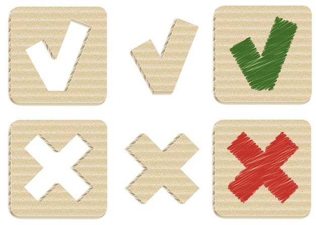Realistic cardboard check mark and cross signs