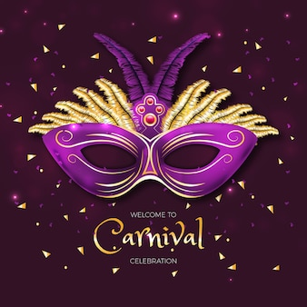 Realistic carnival concept with mask