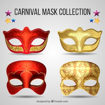 Realistic carnival mask collection