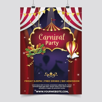Realistic carnival party flyer template theme
