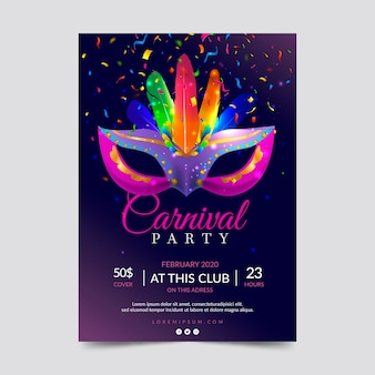 Realistic carnival party poster template