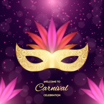 Realistic carnival with mask and glitter